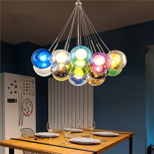 Colorful Glass ball pendant lamp chandelier of colorful glass spheres modern lamp Color Bubble LED crystal chandeliers 110V/220V for Home