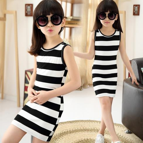 2017 Comfortable Baby Girls Package Hip Dress Cotton Black and White Stripe Summer Sleeveless Children Clothes Daughter Skirt Free Shipping