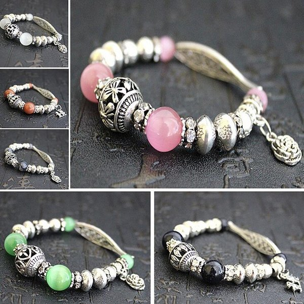 Natural agate crystal bracelet cat's eye stone hand string national wind hand Tibetan silver FB037 mix order 20 pieces a lot Beaded, Strands