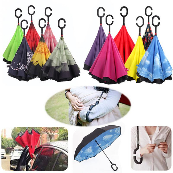 best selling Windproof Reverse Folding Double Layer Creative Inverted Umbrellas Double Layer With C Handle Inside Out Reverse Windproof Umbrella 30colors