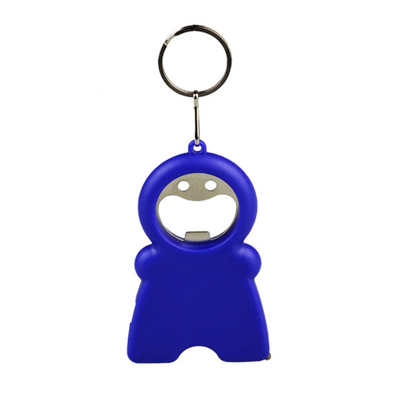 Hot Sale In 2017 Plastic Smile Man Shaped Ruler Tape LED Light Torch Bottle Opener Keychain With Your Logo