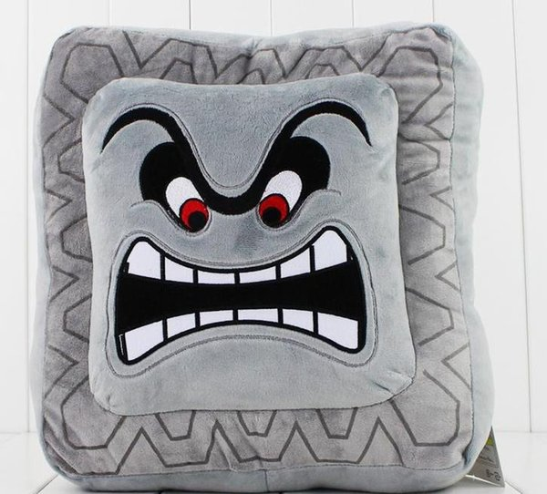 Hot sale Cute Super Mario Bros Plush Soft Toys Cushion Pillow Thwomp Dossun plush pillow 30cm Free shipping
