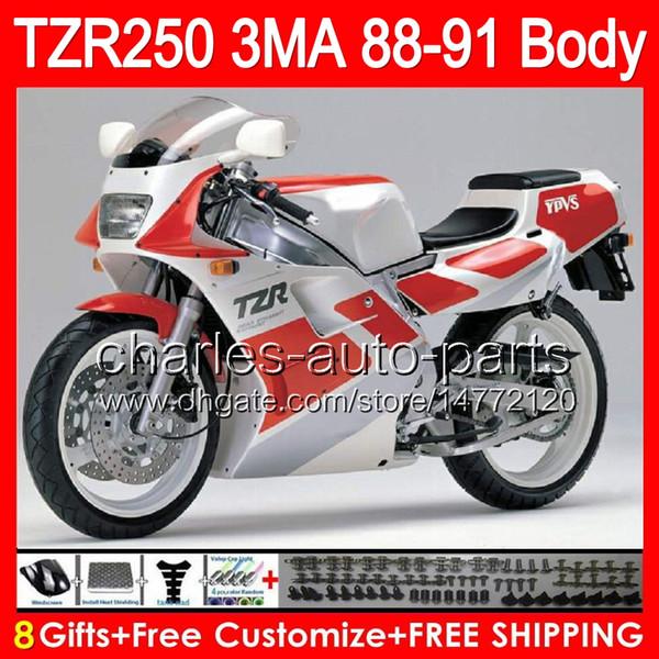 8gifts Corpo Para YAMAHA TZR-250 3MA TZR250 88 89 90 91 87NO4 brilho prata TZR250RR RS RR YPVS TZR 250 1988 1989 1990 1991 preto vermelho Carenagem