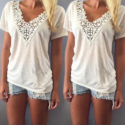 Wholesale- new 2016 Fashion Women v-neck Summer t shirt Short Sleeve Casual lace crochet tops tees clothing plus size S-XXL