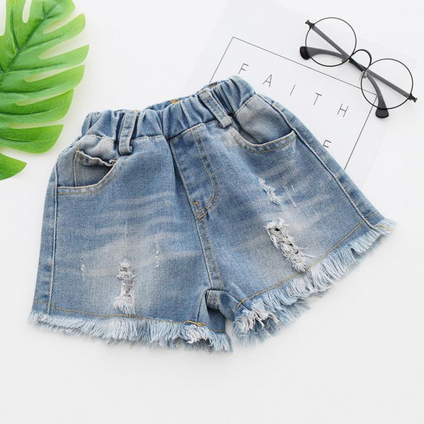 2017 Jeans Shorts for Girls Summer Style Denim Kids Panties New Jeans Shorts Hole Tassels Children Girls Denim Shorts 3210