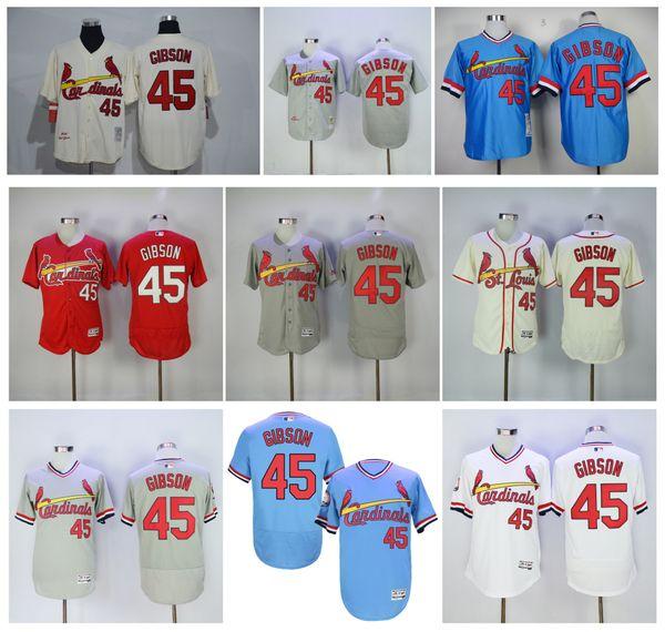 2b16fcb8366 spain throwback st. louis cardinals 45 bob gibson jerseys 1967 grey  cooperstown flexbase 269fe ade39