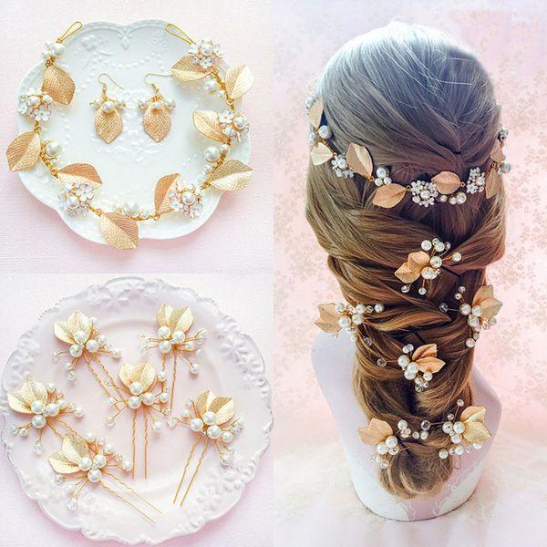 2017 Hochzeit Braut Schmuck Sets Gold Leaf Form mit Perlen Kristall Haar Bob Stirnbänder frau Haarnadel Ohrringe für Party Formale Gelegenheit