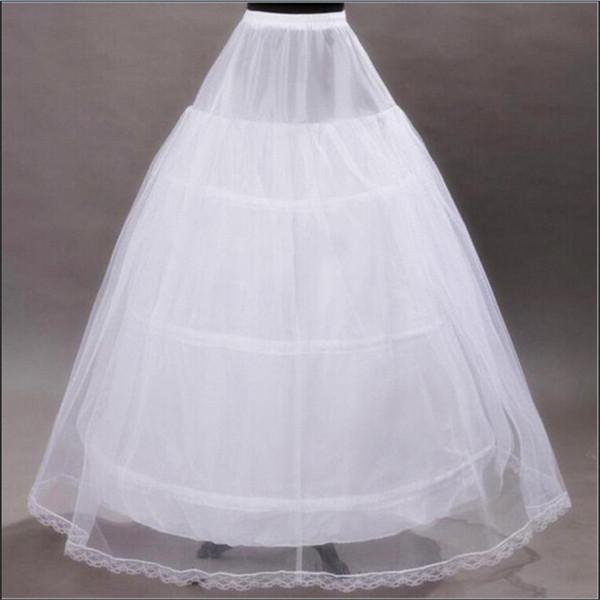 2018 New vestido de baile Petticoats para o casamento formal Vestido Branco Tamanho livre Saia Deslize Crinoline Acessórios nupcial 3 Hoops óssea underskirt completa