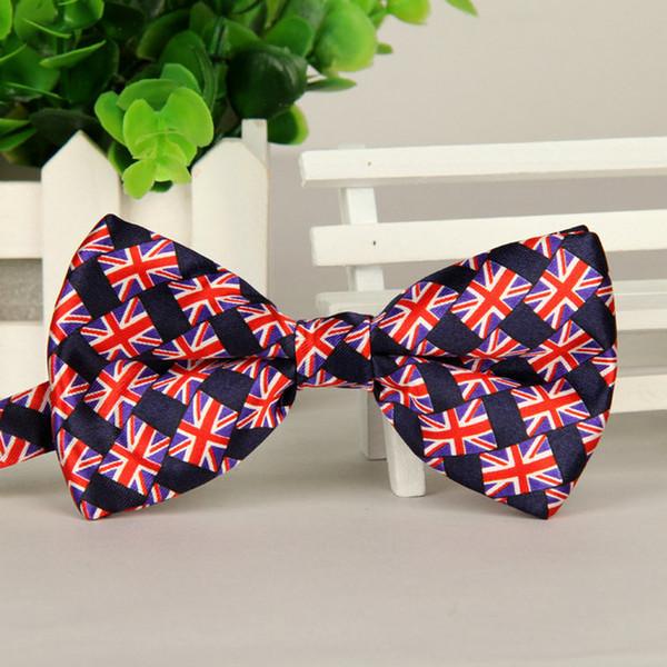 Mens Fashion Britain Flag Print Bow Tie Adulto fatto a mano Star Bow Tie Men