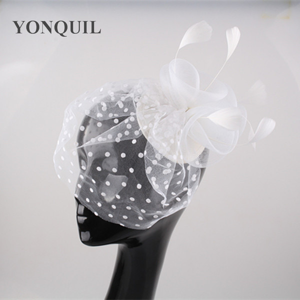 New Feather hairclips with dot veil flower hat hair accessories mesh fascinators bride wedding millinery party cocktail headwear 6pcs/lot