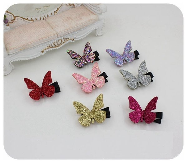 Wholesale 30pcs/lot 7C Solid Glitter Cute Butterfly Baby Girls Hairpins Fashion Girls Hair Clip Baby Hair Accessories