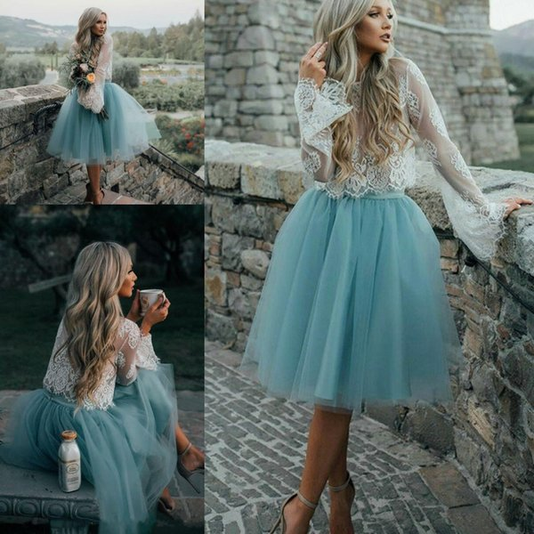 2017 New Sexy Two Pieces Lace Top A Line Cocktail Dresses Seen Through Long Sleeves Tutu Skirt Knee Length Short Party Evening Prom Dresses