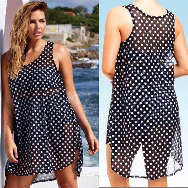 New Sexy Women Sheer Chiffon Bikini Cover Up Polka Dot Beach Tops Blouses Dress Women's Swimming Suit Monokini Bikinis