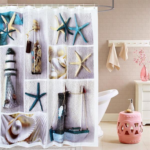 Tecido de poliéster terylene azul vida marinha seastar shell à prova d 'água cortinas de chuveiro engrossar cortina cortinas do banheiro (tamanho180x180 cm)