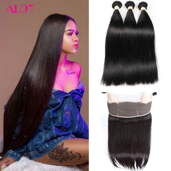 Brazilian Human Hair Bundles Straight Hair Weave 360 Lace Frontal with Bundles 3Pcs 100% Unprossced Natural Color Virgin Hair Extensions