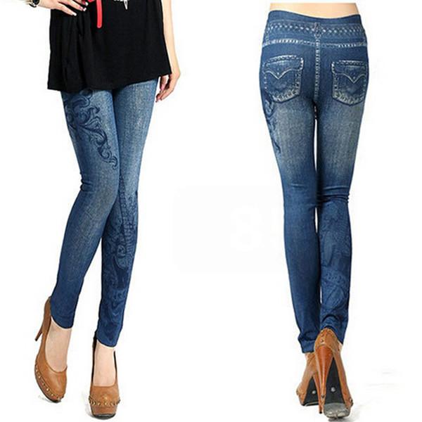 Atacado- S-XL, Novo 2017 das Mulheres Skinny Leggings Moda Elastic Print, Buraco, Leggings Plissado Imitação Jeans Leggings Plus Size Slim Leggings