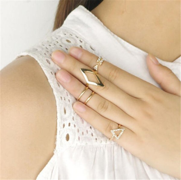 Fashion 5pcs/set Mid Midi Above Knuckle Ring Band Gold Silver Tip Finger Stacking Women Party Accessories Girls arrow rhombus Ring Sets