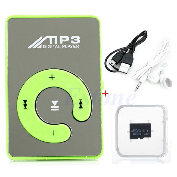 Wholesale- HOT SALE Mini Mirror USB Digital Clip Mp3 Music Player+Micro SD TF Card 4GB +Earphone+USB Data Cable 8 Color Choice