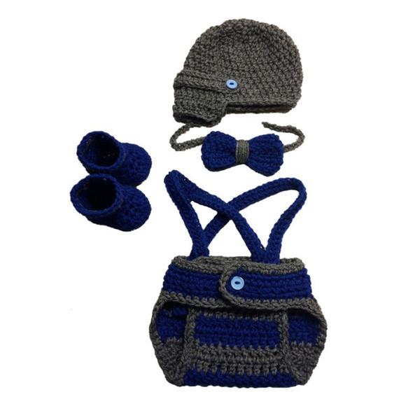 Crochet Little Gentleman Costume,Handmade Knit Baby Boy Newsboy Hat Diaper Cover Bow Tie Booties Set,Infant Photo Props,Baby Shower Gift