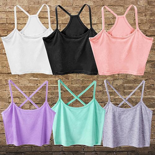top popular Wholesale- Women's Sexy Modal Tank Tops Cami Sleeveless T-Shirt Summer Vest Crop Top Blouse 2021