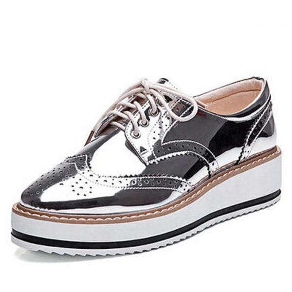 Toptan-Yeni Bayan Kanatlı Oxford Lace Up Çizgili Platformu Metalik Gümüş Siyah Moda Vintage Platformu Bullock Düz Bayan Ayakkabıları 10.5
