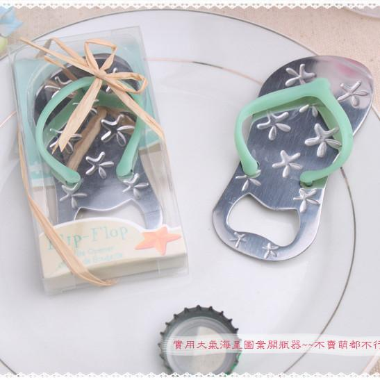 Wedding favors gifts slipper bottle opener with starfish design flip flop opener wedding decoration+DHL Free Shipping
