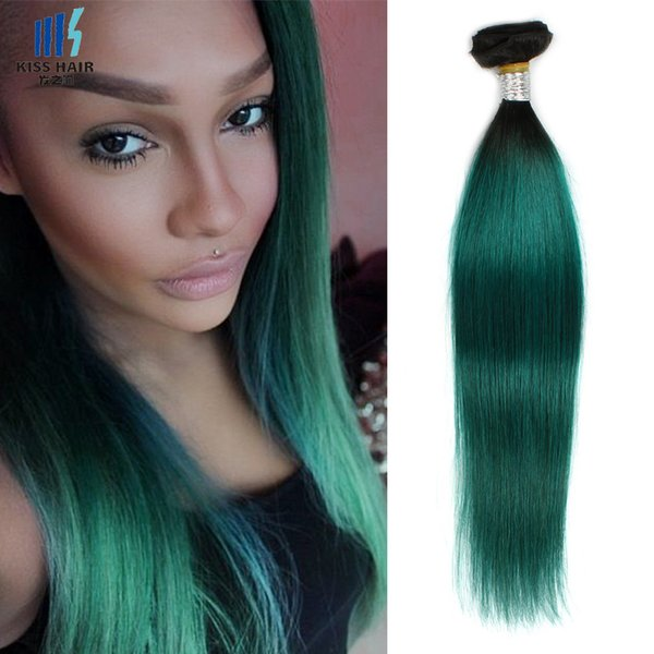 Two Tone T 1b Dark Green Ombre Remy Human Hair Bundles 12 14 16 18
