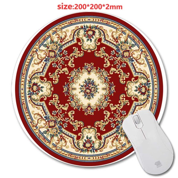 200*200*2mm Design Cheap Best Print New Round Mouse Pad Circular Persian Carpet Antiskid Rubber Mat game Mouse Pad, Office Gift