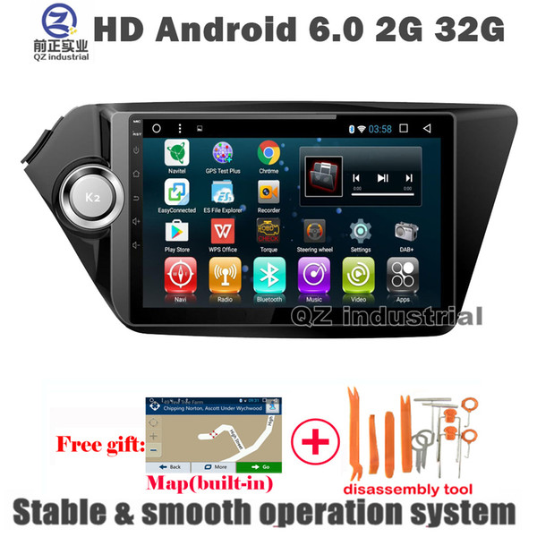 QZ industrial 9inch HD Android 6.0 for KIA Rio k2 car DVD Multimedia player with 3G 4G WIFI GPS BT SWC Navi Radio free map