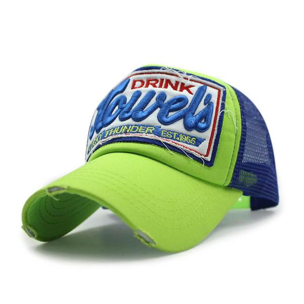 Wholesale- New Mesh Cap Embroidery 3D Breathable Baseball Cap Mesh Cotton Truck Hat Fashion Summer Sunhat