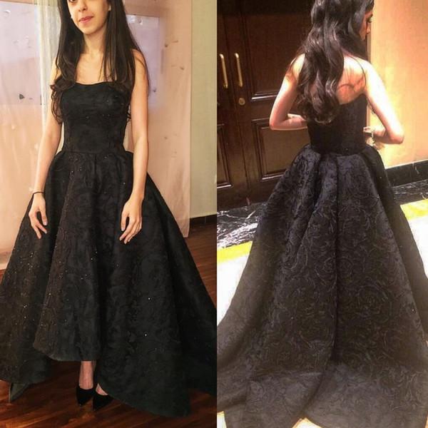 Черное Кружевное Вечерние Платья Вечерние Бусы Высокого Качества Vestidos Элегантный Без Бретелек Плюс Размер Пром Платье 3d Цветы