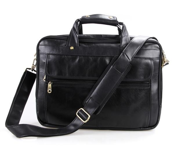 Wholesale- Genuine Leather Men Bag Vintage Men's Briefcase Shoulder Bussiness Laptop Bag Men Messenger Mags men's travel bags #MD-J7146