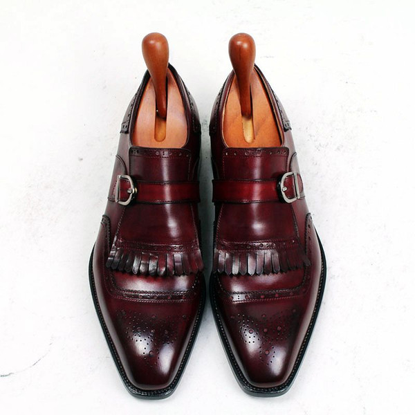 Hombres Zapatos de vestir Zapatos Oxford Zapatos de monje Zapatos hechos a mano personalizados Punta cuadrada con una sola correa Cuero de becerro genuino Color burdeos HD-N176