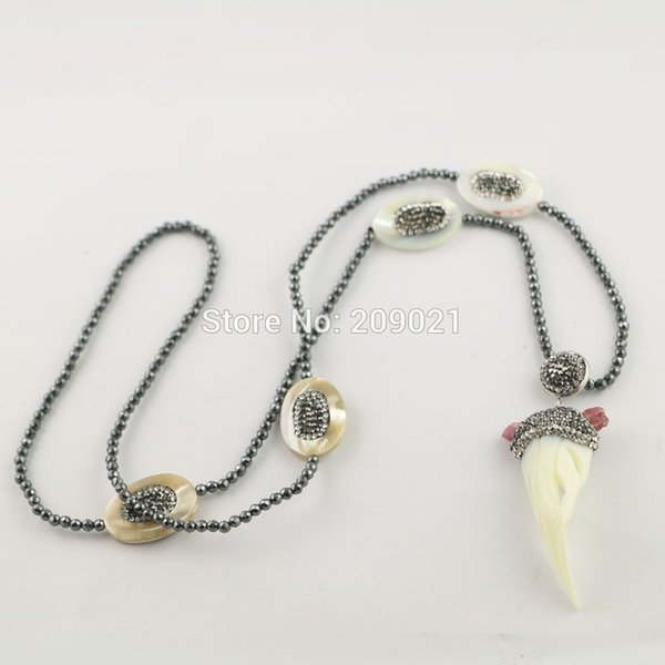 Finding 4pcs Shell Pave Rhinestone Hematite Chains Charm Jewelry Pendant Necklace