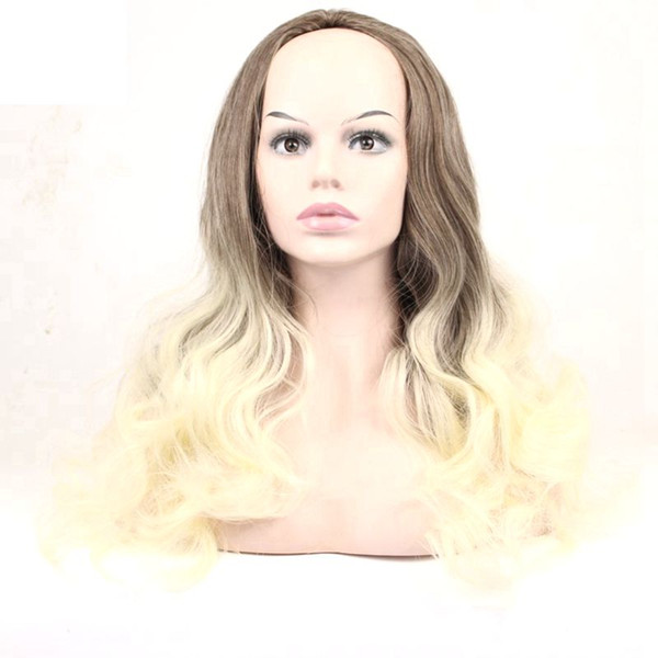 Hair Brown Golden Color long Wavy wig Synthetic Hair Half Wig 3/4 High Temperature Fiber For Women 24inch