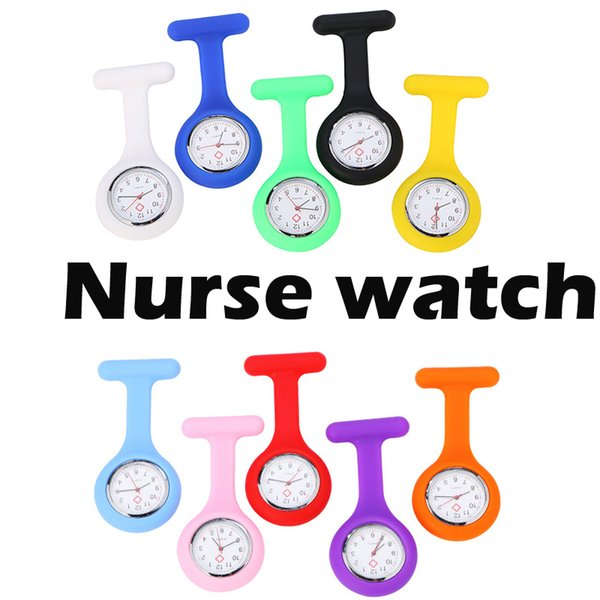 best selling DHL Free Shipping Silicone Nurse Medical Watch Pocket Watches Doctor Christmas Gifts Colorful Fob Tunic Watch
