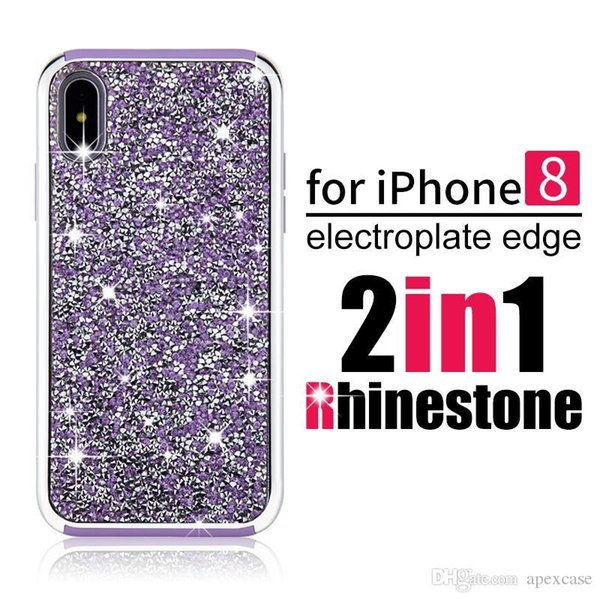 2018 new premium bling 2 in 1 Luxury diamond rhinestone glitter back cover phone case For iPhone 8 7 5 6 6s plus Samsung s8 note 8 cases