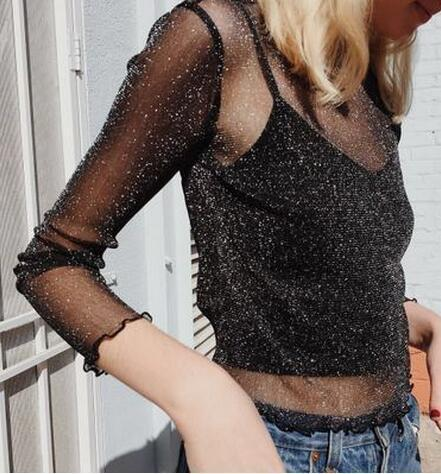 Fashion Women crop tops Super Sheer Mesh Glitter Tops with Ruffled Trimmings Slips Vest Tank Top ladies Long Sleeve tshirt