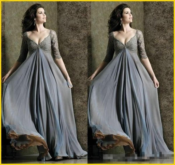 64554fdbab7b Deep V-Neck 2017 Plus Size Empire Waist Evening Dresses with Half Sleeve  Lace Chiffon