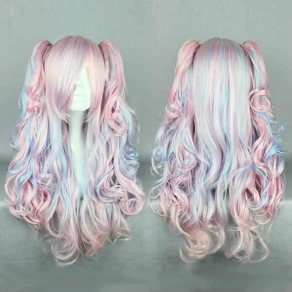 MCOSER Anime New Fashion 70cm Long Blue Mixed Pink Wavy Ponytails High Quality Synthetic Lolita Party Cosplay Wig