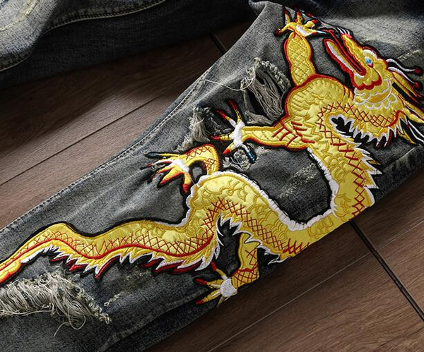 Chinese style Dragon Tiger embroidered jeans Bieber beggars Distrressed trouser New fashion Ripped Straight holes Hiphop patches jeans