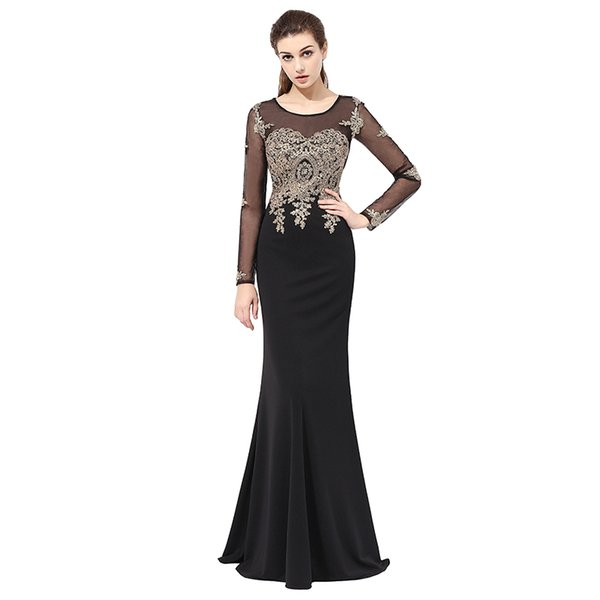 2019 Sexy Sheer Sheath Illusion Sleeves Floor Length Evening Dresses With Lace Appliques Crystal Beads Mermaid Prom Gowns