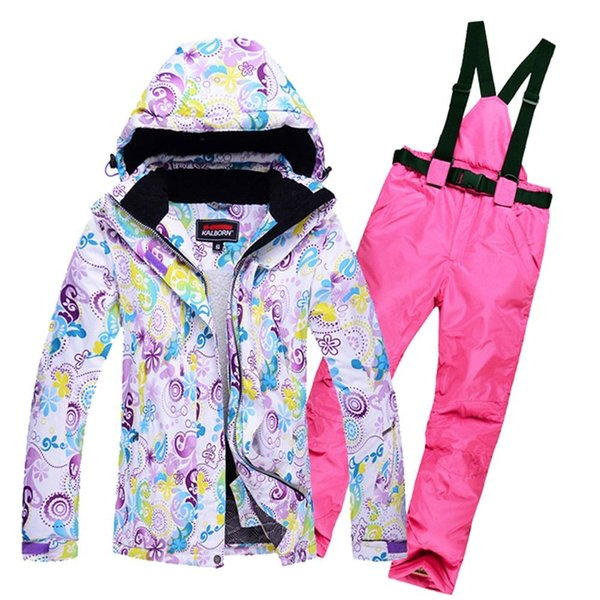 Wholesale- Women's Skiing Suit Windproof Mountain Fleece Padded Ski Jackets and Pant set Winter Snow Thicken Board Snowsports Clothing