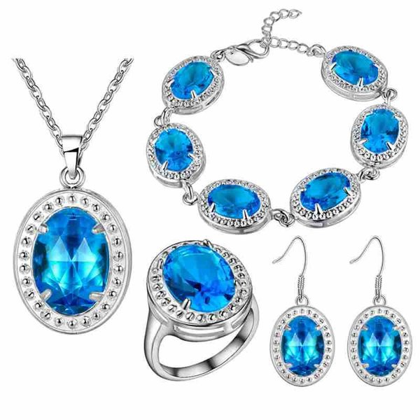 925 Sterling Silver pendant Earrings Necklace ring bracelet A thick silver plating jewelry new fashion color treasure suit katami Aquamarin