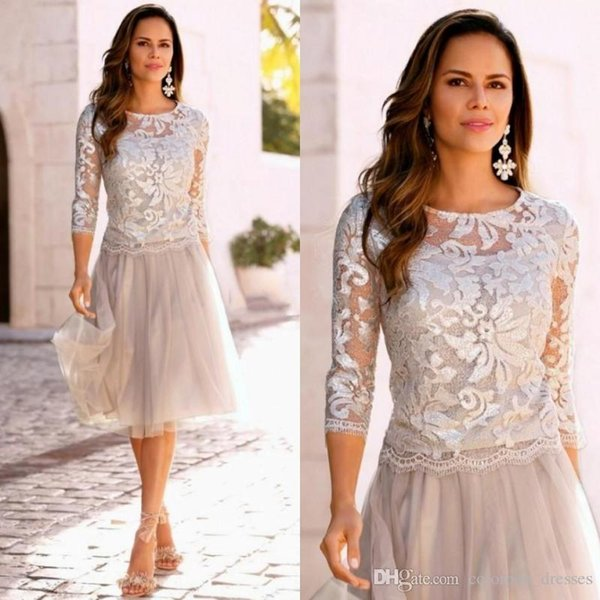 New Arrivals Knee Lenght Mother's Dresses Elegant Sheer Neck 3/4 Long Sleeve Lace Tulle Mother Of The Bride Dresses Wedding Party Gowns