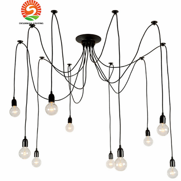 Modern Nordic Retro Edison Chandelier Lighting Vintage Loft Antique Adjustable DIY E27 Spider Pendant Hanging Lamp Home Lighting