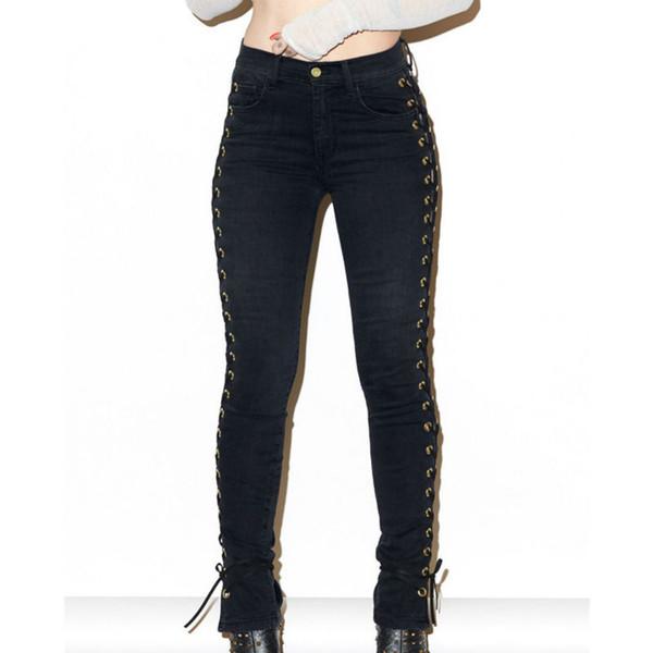 Wholesale- 2017 New Fashion Hip Fop Women Side Lace Up Pencil Black Tight Pants Sexy Cross Bandage Trousers Skinny Jeans Slim Pocket Pants
