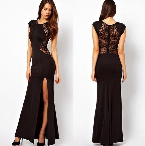 cheap sexy prom dress black satin lace floor-length mermaid split side jewe formal plus size cocktail party gown