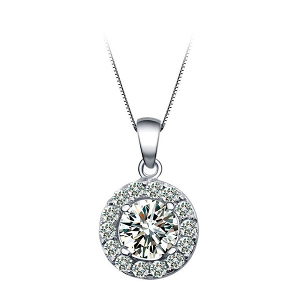 LUOTEEMI Hot Sale Pendant Jewelry Hearts& Arrows Cut Cubic Zirconia Round Micro Inlay Necklaces & Pendants Jewelry