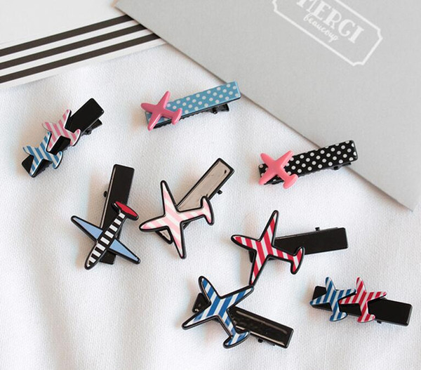 Hot sale Hair ornaments cute little aircraft series small duckbill folder bangs folder hairpin female FJ038 mix order 60 pieces a lot